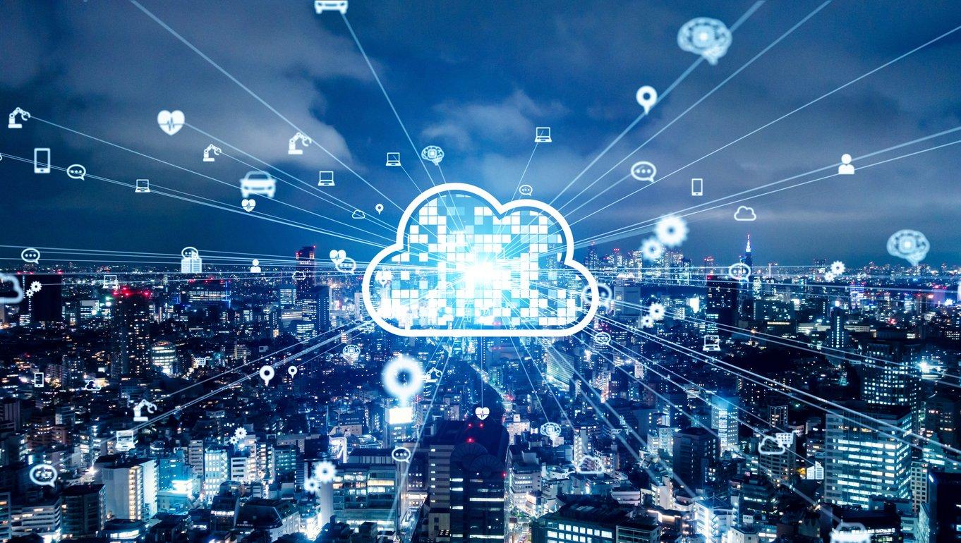 Cloud computing concept. Communication network.